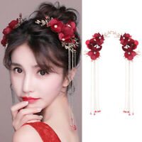FP- Flower Long Tassel Hairpin Hair Clip Bridal Wedding Headdress Accessory Fash