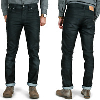 Nudie Herren Slim Skinny Fit Leder Optik Jeans | Thin Finn Black Coated Indigo
