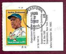 Jackie Robinson 1st Day Issue Stamp on 1982 HOF Game Ticket Stub Cooperstown NY