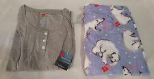 New Womens Hanes 2Pc Gray Long Sleeve Shirt & Polar Bear Pants Pajama Set Sz M