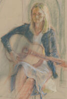 Ann Matthews - 20th Century Pastel, Portrait of a Lady with a Guitar