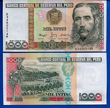 Peru P-136 1000 Intis Year 1988 Uncirculated Banknote South America