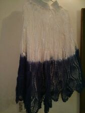 """Ladies Skirt Handmade in Crochet Full lace in White and blue in Length size 36"""""""