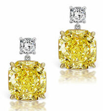 Stud Earring Solid 925 Sterling Silver Yellow Cushion Round Women Jewelry Cz Gft