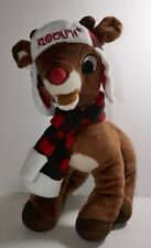 "Dandee Rudolph the Red Nosed Reindeer 16"" Xmas Plush Doll w/Hat & Scarf"