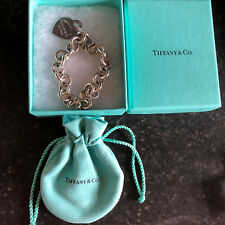 "Tiffany & Co Cuore Tag Toggle Bracciale in Argento Sterling 7.5"" CON SCATOLA ORIGINALE"