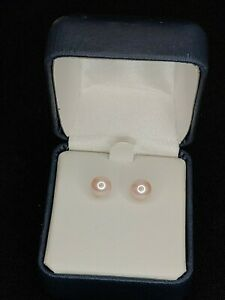 Pink Cultured Pearl 6.5 - 7 mm With Solid 14K Yellow Gold Stud Earrings NEW