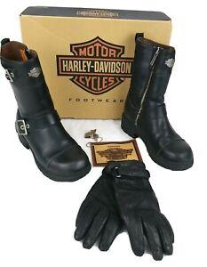 HARLEY DAVIDSON Women's Black Leather Zip-Up  Boots SZ 6   Leather Gloves SM EUC