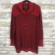 Lauren Ralph Lauren Women's Sweater Sz 2x L/S Red and Black Wool Blend Cowl Neck