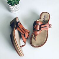 Alegria PG Lite Ring Flip Flop Leather Wedge Sandals Tan FLAWED 39/40