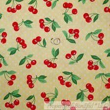 BonEful FABRIC Cotton Quilt Yellow White Polka Dot Red Cherry Green Leaf L SCRAP