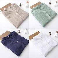 Womens Ladies Blouse Long Sleeve Tops Sheer Cotton Linen Button Down Shirt S-XL
