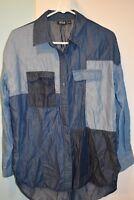 a.n.a. Medium Women's Chambray Shirt Blue Button Up Pockets Top