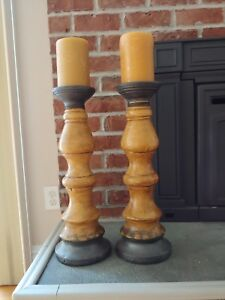 PIER 1 Pillar Candle Holders-Set of 2 Brown & Tan Modern Rustic Design