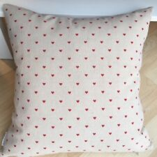 Handmade Red Hearts Natural Linen Cotton Cushion Cover. Various sizes