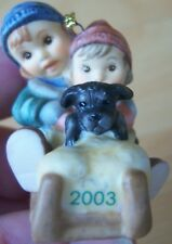 Goebel Collectible 2003: Cute Little Boy, Girl and Doggy on Sleigh - Ornament