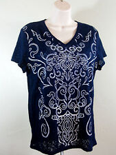 Chico's 1 Womens Navy Lace Tee Shirt. Embellished White Scrollwork Size Medium 8