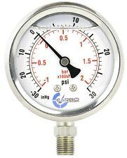 "1-1/2"" Vacuum Gauge Stainless Steel Case Liquid Filled, Lower Mnt -30 Hg/+30 psi"