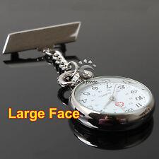 Silver Vintage Large Face Nurse Nursing Nurses Pendant Pocket Fob Brooch Watch
