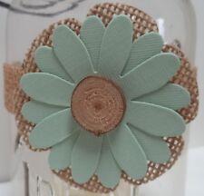 10 Rustic Burlap Mint Green Wood Mason Jar Candle Centerpiece Wedding Wraps FE1
