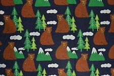 Mountain Bear Flannelette Fabric 108cm Wide (x 1.4 metres)
