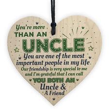 Uncle Friendship Gift Handmade Wooden Heart Birthday Gift Plaque Sign Keepsake