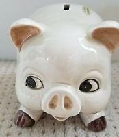Piggy Bank Vintage 1979 OTAGIRI Japan Handpainted Stopper Glossy Near Mint