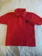 Red Short Sleeve Pique Polo with Primrose logo Uniform Y2Xs
