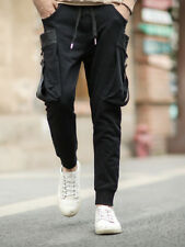 Pure Color Drawstring Long Pants - Black