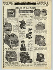 1938 PAPER AD Ventriloquist Dummy Bank Mickey Mouse Cash Register Mechanical Toy