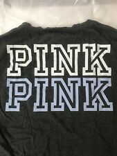 PINK VICTORIAS SECRET VS Heather grey Pull-over L/S V-Neck w/ Large Logo on Back
