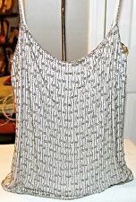 GUESS COLLECTION NWT BEADED TOPS THIN STRAPS LIGHT GRAY M RETAILS $128.00