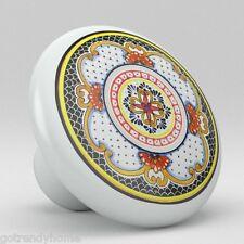 Round Talavera Design Ceramic Knobs Pulls Kitchen Drawer Cabinet Dresser 1186