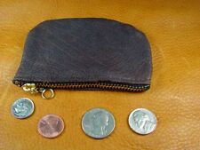 Dark Brown Bison Buffalo Leather coinpurse pouch hand crafted disabled vet 5018