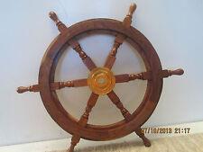 "Nautical, Wood & Brass 24"" Replica Ship Wheel"