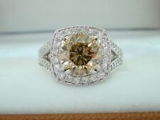 3.27 Carat Fancy Champagne Brown Diamond Engagement Ring Platinum Halo Pave