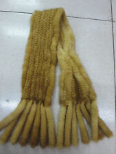 /New women 's  Fashion /real mink fur knitted Double tassel scarf /yellow