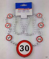 Halskette Medallion 70cm Verkehrsschild Zahl 30 Geburtstag Kette Party