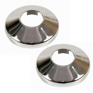 2x Pieces Chromed PVC Plastic Radiator Pipe Cover Collar Rose 15-28mm Diameter