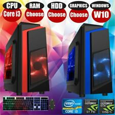 Gaming Computer PC Intel Core i3 Computer SSD HDD 4-16 GB RAM GT GTX GFX Win 10