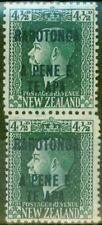 Rarotonga 1919 4 1/2d Dp Verde SG51b Vert Par V.F Muy Ligeramente MTD Nuevo