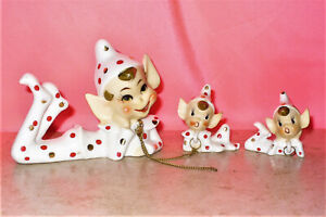 Set of 3 POLKA DOT Ceramic PIXIE ELVES Children Attached w/ Chain Japan Too CUTE