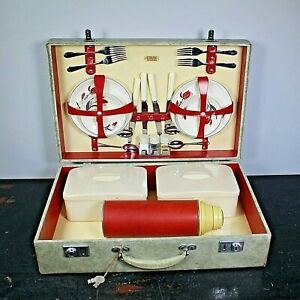 Vintage Sirram picnic basket china crockery & cutlery 1950s Thermos & condiments