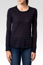 PAIGE Allie Sweater Midnight Bordeaux Stripe Long Sleeve Wool Blend Sz S $189