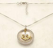 Natural Diamond FAITH Religious Cross Pendant Necklace Chain Real 925 Silver