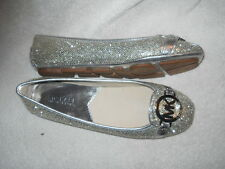 Michael Kors Fulton MK Silver Charm Moc Silver Glitter Flats 6 M NIB