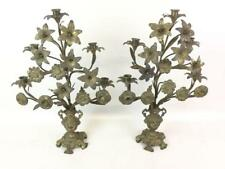 Vintage French Bronze Floral Candle Holders Dore Pair