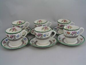 SET OF SIX COPELAND SPODE CHINESE ROSE COFFEE CUPS AND SAUCERS.