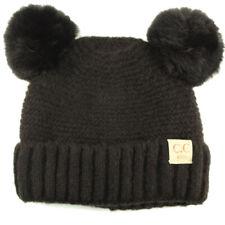 CC Kids Fleeced Lined Ages 2-5 Soft Thick 2ear PomPom Knit Beanie Ski Cap Black