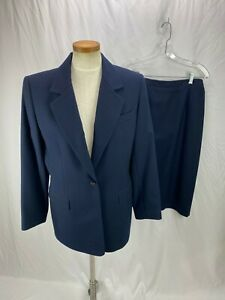Talbots Women's Blue Wool Skirt Suit 10